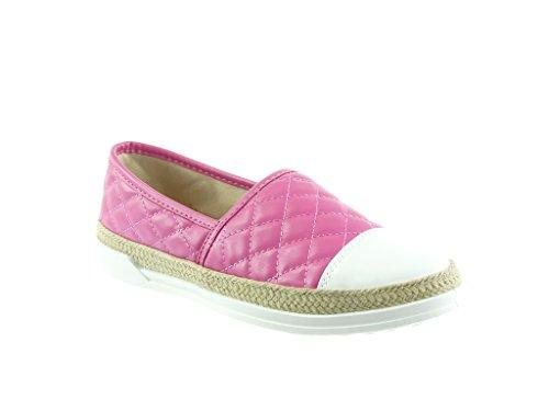 Angkorly - damen Schuhe Sneaker Espadrilles - Slip-On - gesteppt schuhe - Patent - Seil flache Ferse 2 CM Fushia