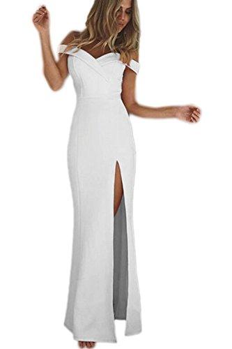 La Mujer Elegante Strapless Off Shoulder Backless Vestido Monocolor Corte Largo White S