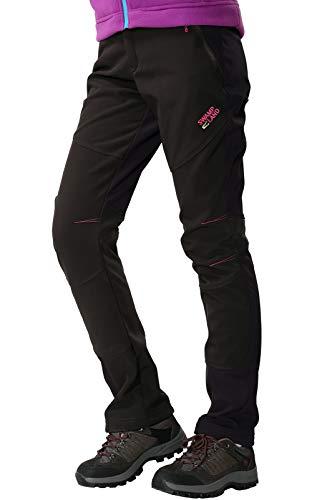 Outdoorhose Damen Wanderhose Wasserdicht Softshellhose Gefüttert Hose Winter Trekkinghose Funktionshose, Stil 1:Schwarz, Gr. EU-L/Asia-2XL