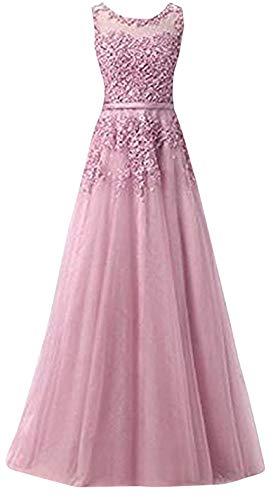 Romantic-Fashion Damen Ballkleid Abendkleid Brautkleid Lang Modell E010-E015 Blütenapplikationen Tüll DE Altrosa Größe 42