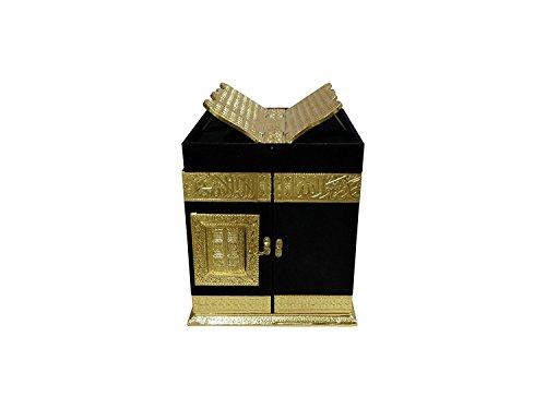 Itiha Islamische Khana Kaba Nachbildung Holz handgefertigt Samt Heiliger Koran Box mit Rihal auf der Oberseite, 30,5 cm