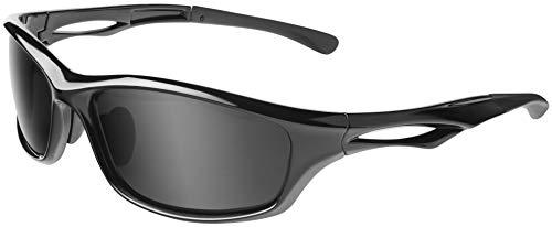Balinco Polarisierte Sportbrille Sonnenbrille Fahrradbrille mit UV400 Schutz für Damen & Herren Autofahren Laufen Radfahren Angeln Golf (Glossy Black - Smoke)
