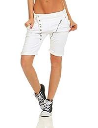 3536199457af1c Fashion4Young 11509 Mozzaar Damen Jeans Bermuda Hose Boyfriend Denim Shorts  Slimline Knopfleiste Zipper…