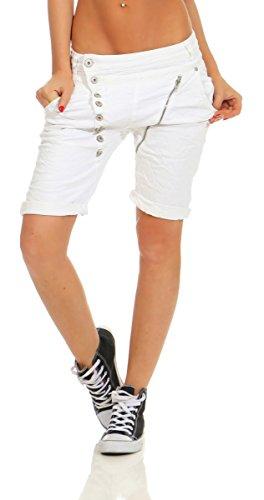 11509 Mozzaar Damen Jeans Bermuda Hose Boyfriend Denim Shorts Slimline Knopfleiste Zipper Slim-Fit (Weiß, XL-42) (Weiße Denim-jean-shorts)