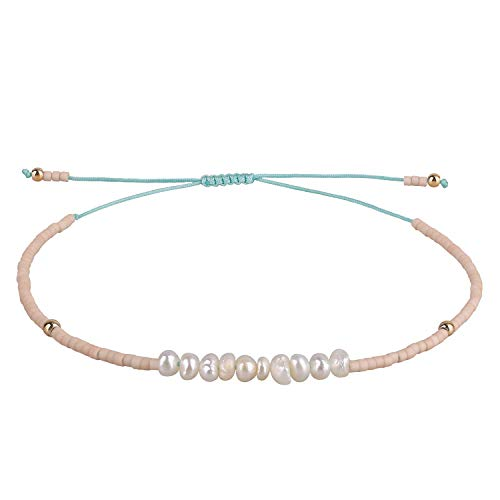 KELITCH Armbänder Damen Herren Shell Perle Japanischen Rocailles Charme Freundschaft Armbänder für Pärchen Handgemachte Einstellbare String Armband (Rosa)