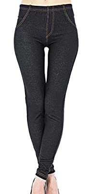 New Ladies Womens Denim Look Skinny Stretchy Jeggings Leggings Plus Size 8-24UK