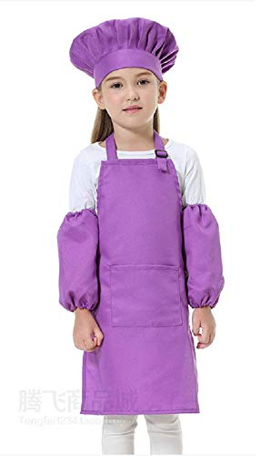 Inception pro infinite (Lila) Einheitsgröße - Kostüm Uniform Chefkoch Kinder Hut Schürze Ärmel Verkleidung Karneval Halloween Cosplay Zubehör Unisex Kind Mädchen