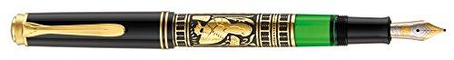 Pelikan 910232 Kolbenfüllhalter Toledo M 700 mit Bicolor-goldfeder 18-K/750 Federbreite M, 1 Stück, schwarz/gold