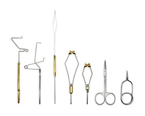 XFISHMAN Fliegenbinden Tool Kit 7in 1mit Bobbin Finisher Schere Hackle Fly Angeln Binden Tools Set -