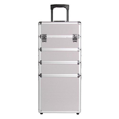 Paneltech 4 in 1 grande trucco bellezza Rolling Case Organizer Cosmetici Parrucchiere Lockable Storage Box Borsa professionale portatile Travel (argento)