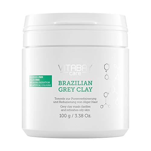 Brazilian Grey Clay 100g - Tonerde zur Porenverfeinerung & Reduzierung von öliger, fettiger Haut. Detox Maske zum Anrühren. Reich an Mineralien. Anti Hautunreinheiten & große Poren. Klärt & erfrischt