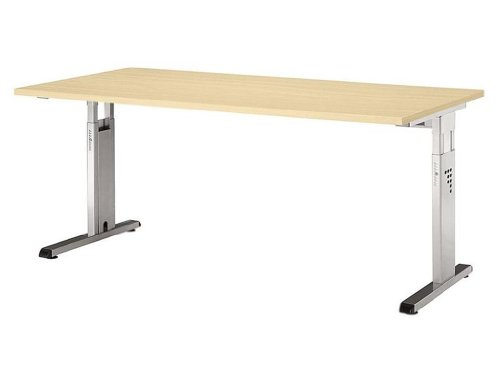 Schreibtisch O-Serie - 180 x 80 x 68 - 82cm verkettbar|Buche, Schwarz