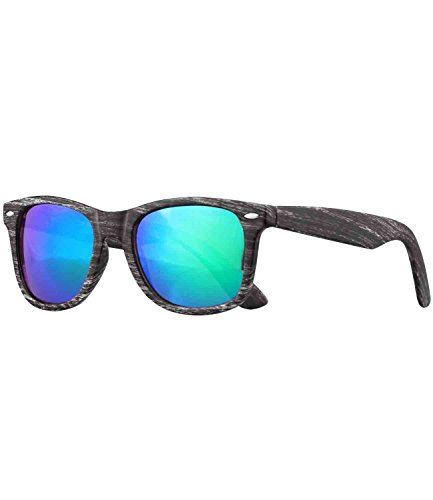 caripe Wayfarer Sonnenbrille Nerd Brille verspiegelt + getönt - viele Farben - W-g (Holzoptik grau...