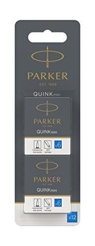 Parker Quink 12 cartouches courtes, encre bleue effaçable