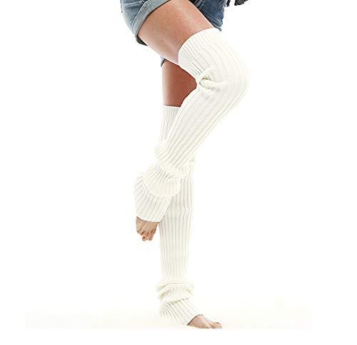 Acryl-leg Warmers (Nanxson Damen Mädchen Extra Lang Basic Leg Warmer Gestrickte Over-Knee Lange Stulpe Beinstulpe Tanzen Strumpf TTW0056 (M 85cm, weiß))