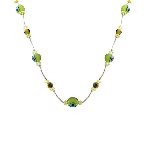 1 Collana di perle multipla Catena Perlina Donna 40-74 cm colori brillanti pavonia fiori stella verde-giallo mix , modello:mod 13