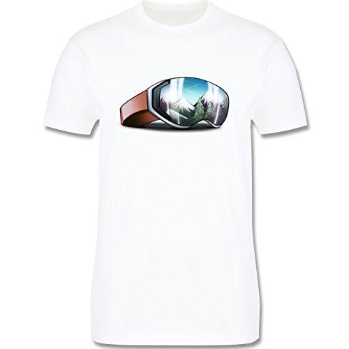 Wintersport - Skibrille - Herren Premium T-Shirt Weiß