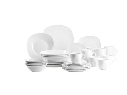 Domestic by Mäser, Série Cosmo Ménagère 28 pièces comprenant 4 tasses à café avec soucoupes, 4 grandes tasses à café, 4 assiettes à dessert, 4 assiettes plates, 4 assiettes creuses et 4 bols à muesli Blanc
