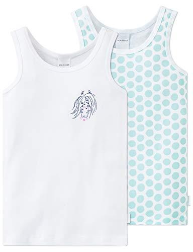 Schiesser Mädchen Unterhemd, Mehrfarbig (Sortiert 1 901)/Blau, 98 (Herstellergröße: 098) (erPack 2