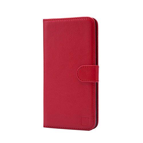 32nd PU Leder Mappen Hülle Flip Case Cover für Blackberry DTEK50, Ledertasche hüllen mit Magnetverschluss und Kartensteckplatz - Rot