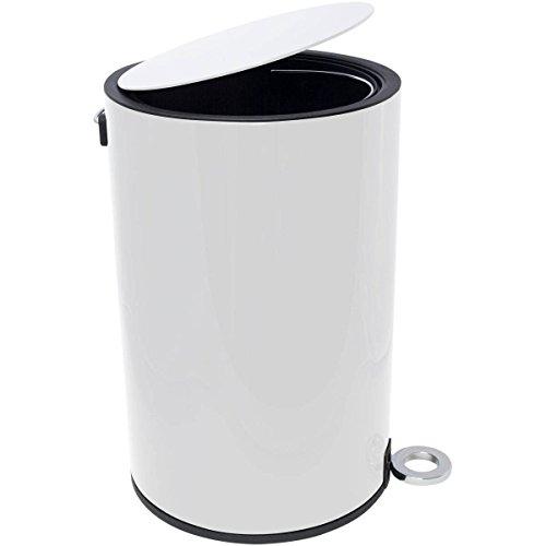 Kosmetikeimer - Poppis Mülleimer 3l und 12l mit Softclose-System - Badeimer mit Absenkautomatik (Weiß 12 Liter)