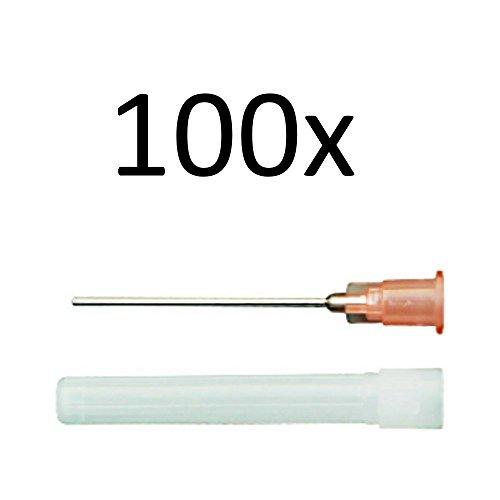 100x stumpfe Kanülen 1,2mm x 40mm zum Mischen von Liquids, Aromen, E-Liquid, Modellbau und Heimwerk (Top Shisha Flasche)