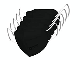 Promisca N95 Face Mask, Ear Loop Style Protective 5 Layered Filtration with Melt Blown and Hot Air Cotton Layers (Pack of 5) without valve (Small, Black)