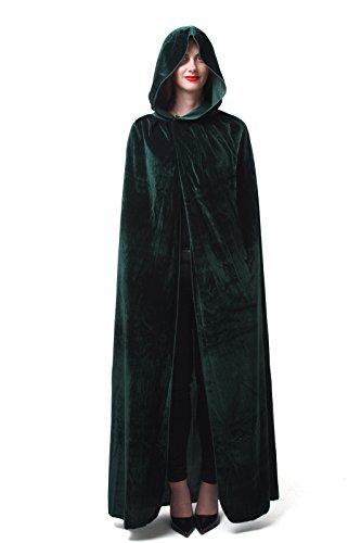 Hexe Vampir Kapuzen Umhang Cape (130cm, green) (Green Ghost Kostüm)