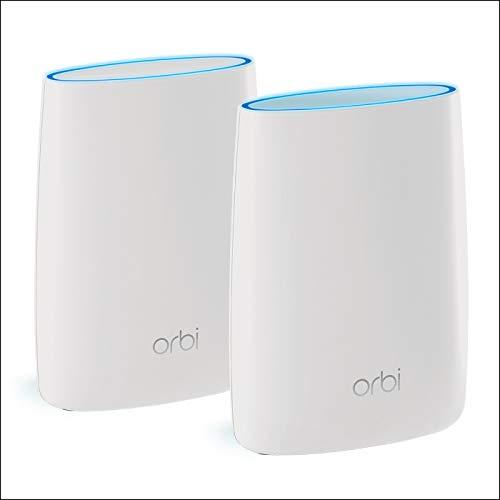 NETGEAR Système WiFi mesh tri-band Orbi (RBK50) avec une vitesse de 3Gbit/s , remplace votre box et couvre jusqu'à 350 m², pack comprenant 1 base/routeur et 1 satellite