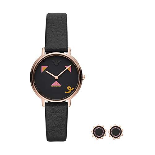 Emporio Armani Reloj Analógico para Mujer de Cuarzo con Correa en Cuero AR80022