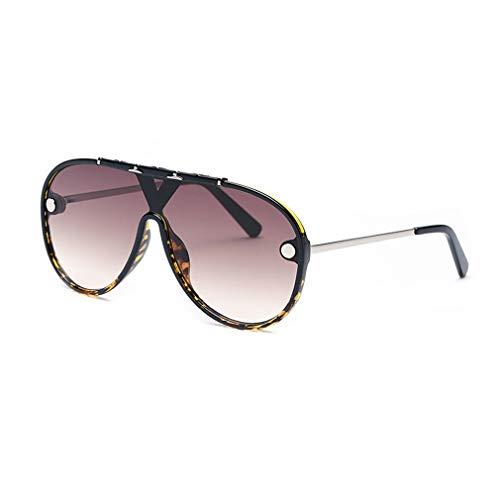 YHgiway Männer Aviator einteiliges Objektiv Sonnenbrille Modedesigner Rivet Studded Oversized Shades Retro Frauen Sonnenbrille YH7445,Tortoise