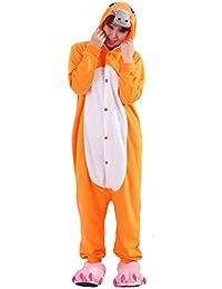 Kigurumi Pijama Animal Entero Unisex para Adultos con Capucha Cosplay Pyjamas Naranja Ornitorrinco Ropa de Dormir
