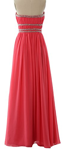 MACloth Women Strapless Chiffon Long Prom Dress Evening Formal Gown with Beading Dunkelmarine