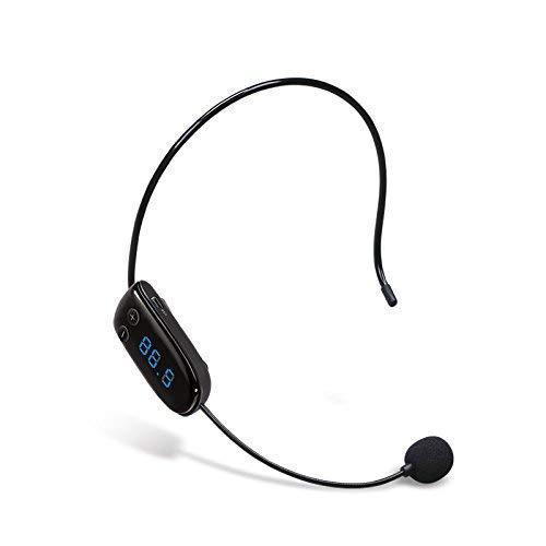 Microfono a condensatore FM a mani libere Microfono Headset Megaphone Radio Mic per guida turistica, commesso, insegnante, ospite, altoparlante, conferenza e Karaoke (nero)