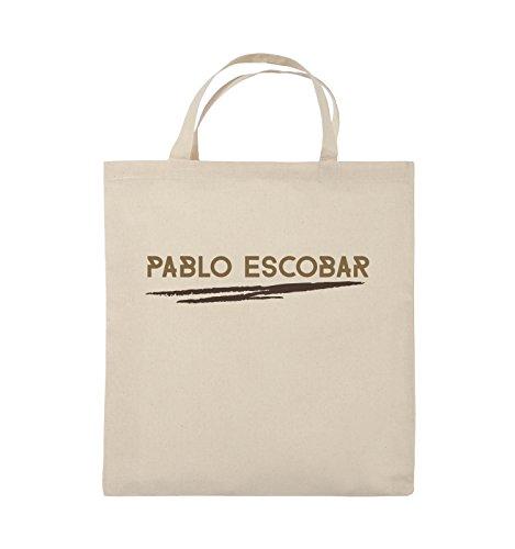 Comedy Bags - Pablo Escobar - NARCOS - Jutebeutel - kurze Henkel - 38x42cm - Farbe: Schwarz / Weiss-Neongrün Natural / Hellbraun-Dunkelbraun