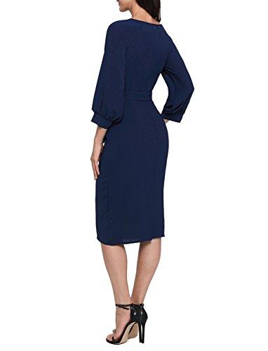 ff2c46e92d70 ... TOUVIE Damen Rundhals Knielang Abendkleid Elegant Vintage Etuikleid  Bleistiftkleid Business Kleid Gr.36-46 ...