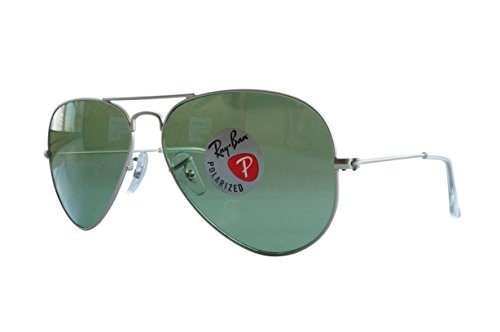 Ray-Ban Men's Aviator Large Metal Polarized Aviator Sunglasses, Matte Silver frame, 58 mm  available at amazon for Rs.22250