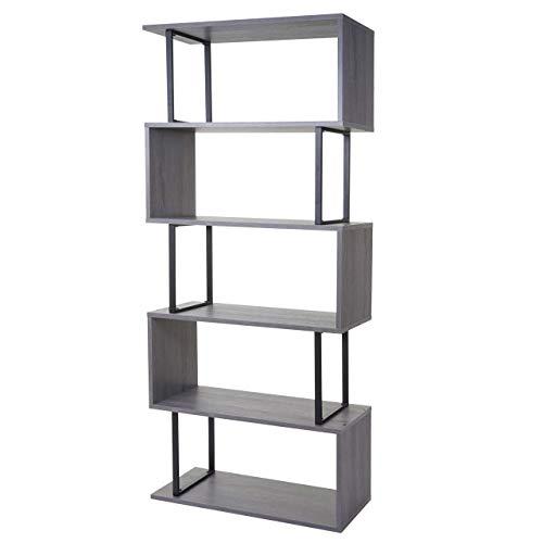 Mendler libreria scaffale hwc-a27 effetto 3d mdf 5 ripiani 30x80x183cm grigio
