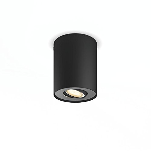 Philips Hue White Ambiance Pillar 5.5 W GU10 Single Spot Light, 1 x 5.5 W Hue White Ambiance Perfect Fit GU10 Bulb - Black, Works with Alexa