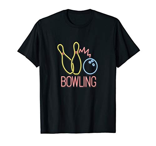 Bowling Neon mit Kegeln und Bowlingkugel Pins