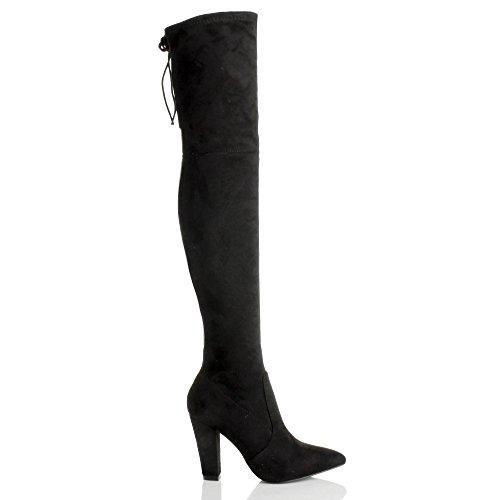 Femmes haut talon bloc zip arrière lacer bout pointu cuissardes bottes pointure Noir