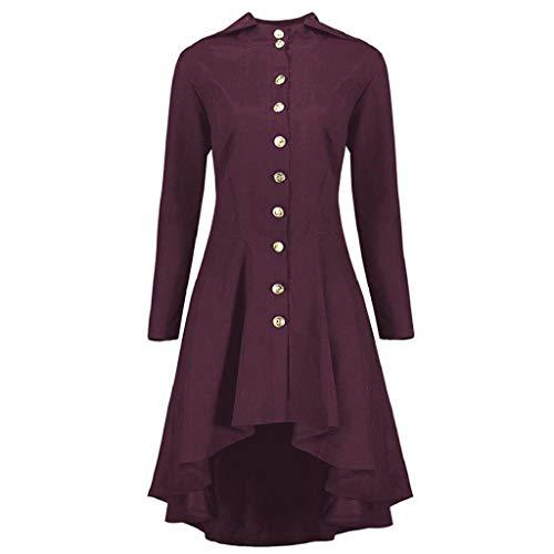 Damen Herbst Elegant Gothic Mäntel Kleider Lace Up Kapuzenmantel Trenchcoat Lang Hoodie Asymmetrisch Button-down Jacke Windbreaker Lang Gotischer Gehrock Uniform Kostümparty Outwear Oversize Rovinci -