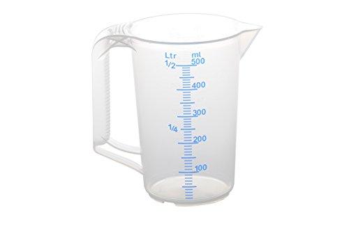 hünersdorff ½ Liter / 500 ml, Messkanne/Messbecher aus Polypropylen (PP) mit geschlossenem Griff und 2 Skalen, besonders temperaturbeständig, Made in Germany