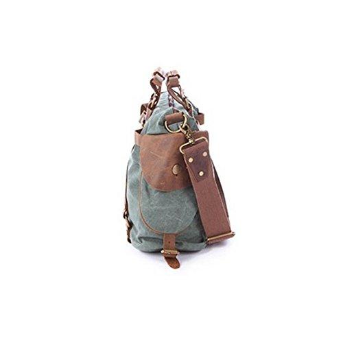 Paonies Canvas Damen Herren Tasche Handgepäck Sporttasche Umhängetasche für Reise Arbeit Grün