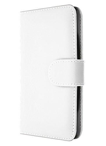 iPhone 4 / 4S Hülle Leder Klapphülle mit Kartenfach GizzmoHeaven Schutzhülle Tasche Flip Case Cover Etui Handyhülle für Apple iPhone 4 / 4S mit Displayschutzfolie und Stylus-Stift - Hell Blau Weiß