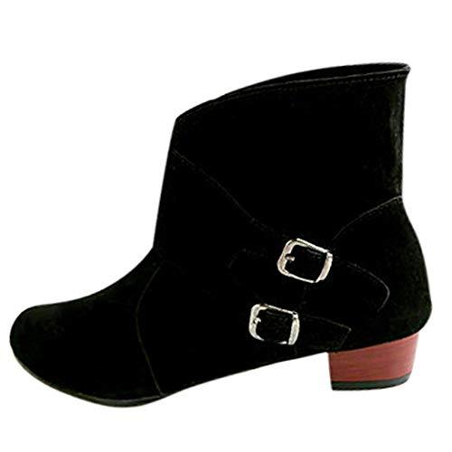 Frauen Herbst und Winter Stiefel, LSAltd Damen Mode Schnalle Stiefel Feste Runde Zehe Schuhe Martin Stiefel Ankle Boots 2018