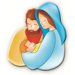 Plaque Sainte Famille aimantée 6cms x 4cms. Image Moderne de Jésus, Marie et Joseph. Crèche de Noël. Scène de Berceau. Communion Cadeau. Cadeau de baptême. Cadeau de baptême.