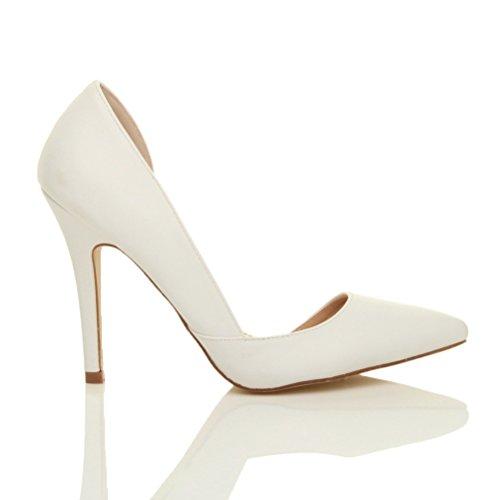 Damen Hoher Absatz Stiletto Spitz Ausschneiden D'orsay Pumps Schuh Größe Weiß