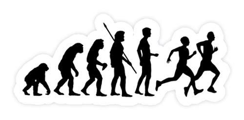 shirt-o-magic Aufkleber Laufen: Evolution Läufer - Sticker -Einheitsgröße-Weiß