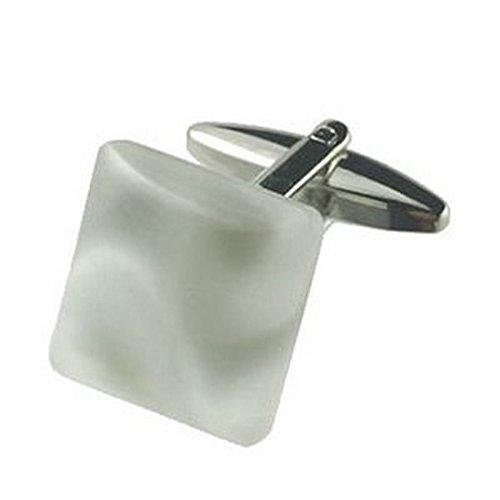 Manschettenknöpfe Manschettenknöpfe aus weißem Stein~ Premier Stein Eis Nebel graviert Personalisierte Box